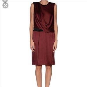 Helmut Lang burgundy toga style dress